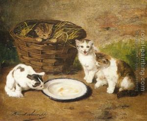 45471-Neuville, Alfred Arthur Brunel de-Kittens by a Bowl of Milk