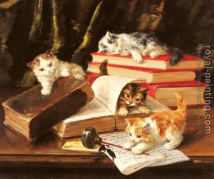 45472-Neuville, Alfred Arthur Brunel de-Kittens Playing on a Desk