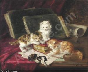 laur-marie-yvonne-yo-1879-1943-jeux-de-chatons-sur-un-tableau-1476260